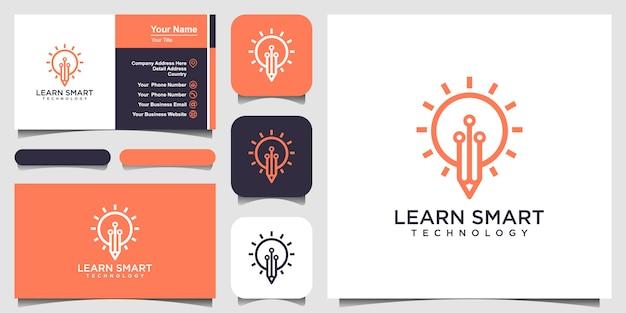 Icono de idea bombilla y lápiz con placa de circuito interior. concepto de idea de negocio. lámpara formada por conectores de chip. logotipo y tarjeta de visita