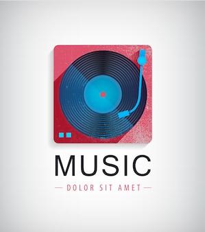 Icono con ilustración de disco de vinilo