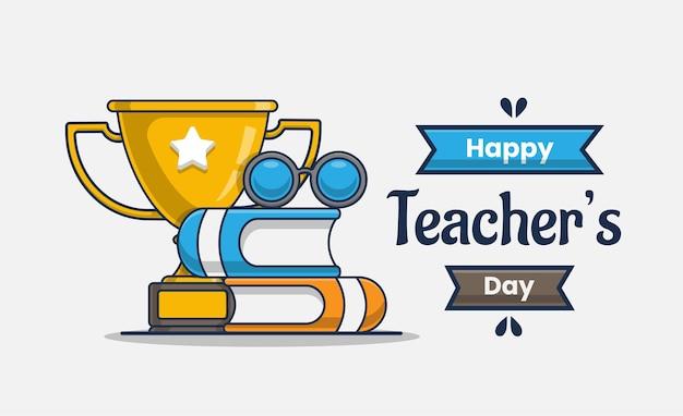 Icono de ilustración con feliz día del maestro