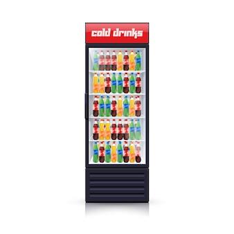 Icono de ilustración realista de dispensador de refrigerador de cola