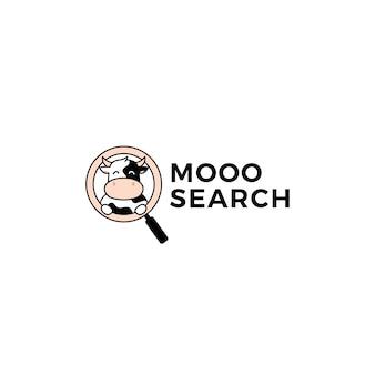 Icono de ilustración de vector de logotipo de búsqueda de seo de vaca