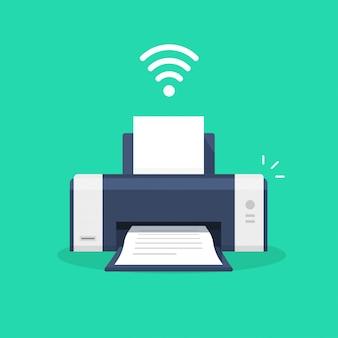 Icono de la impresora con símbolo inalámbrico wifi o fax de inyección de tinta tecnología de impresión wi-fi pictograma ilustración de dibujos animados plana aislado