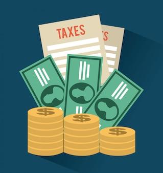 Icono de impuestos sobre fondo azul ilustración vectorial