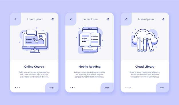 Ícono de incorporación curso en línea biblioteca de nube de lectura móvil para aplicaciones móviles campaña plantilla de página de inicio con diseño plano