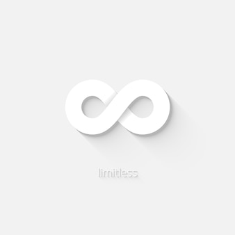 Icono de infinito vector blanco que representa el estado de ser ilimitado o ilimitado por el espacio-tiempo o la cantidad