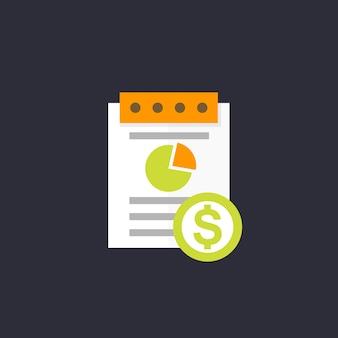 Icono de informe de gastos, estilo plano