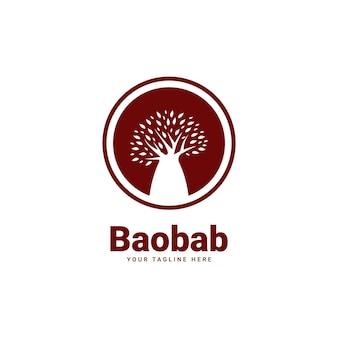 Icono de insignia de logotipo de árbol de baobab