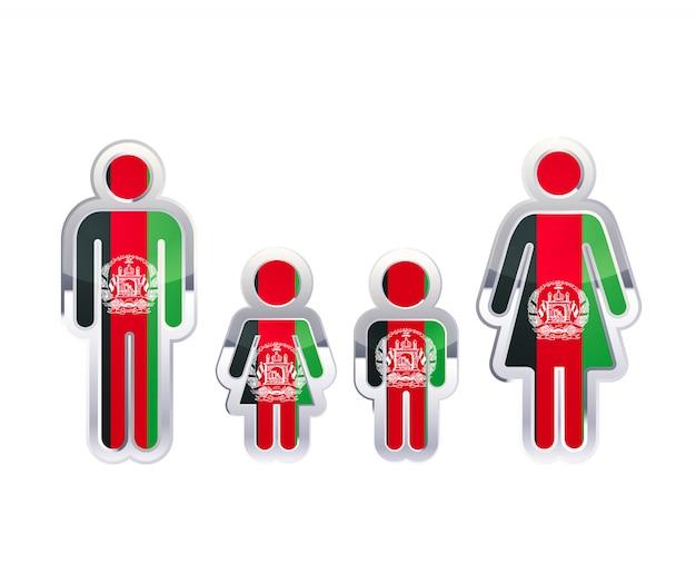 Icono de insignia de metal brillante en formas de hombre, mujer y niños con bandera de afganistán, elemento de infografía en blanco