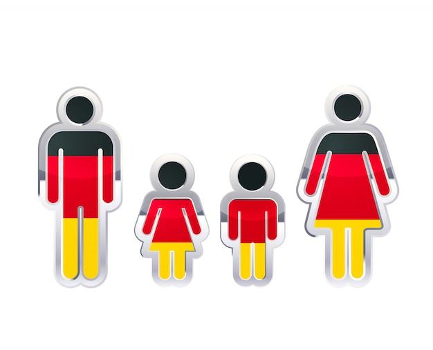 Icono de insignia de metal brillante en formas de hombre, mujer y niños con bandera de alemania, elemento de infografía aislado en blanco