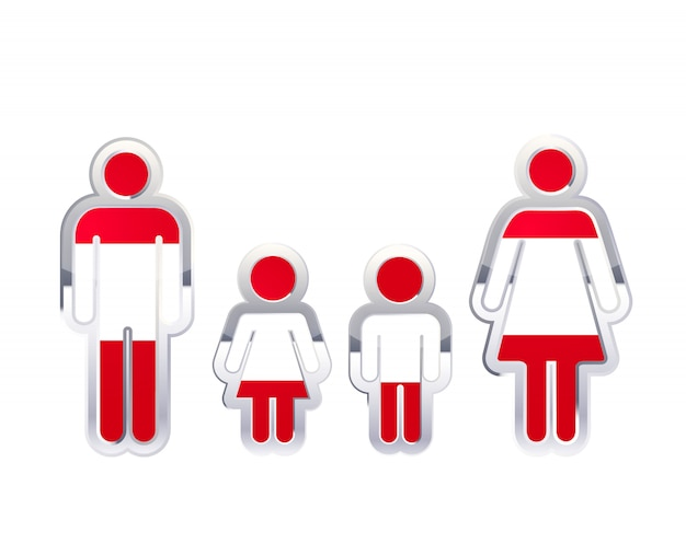 Icono de insignia de metal brillante en formas de hombre, mujer y niños con bandera de austria, elemento de infografía en blanco