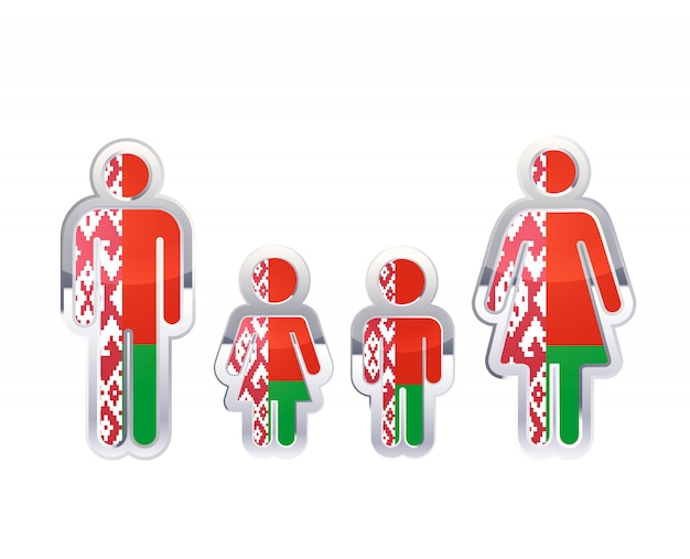 Icono de insignia de metal brillante en formas de hombre, mujer y niños con bandera de bielorrusia, elemento de infografía en blanco