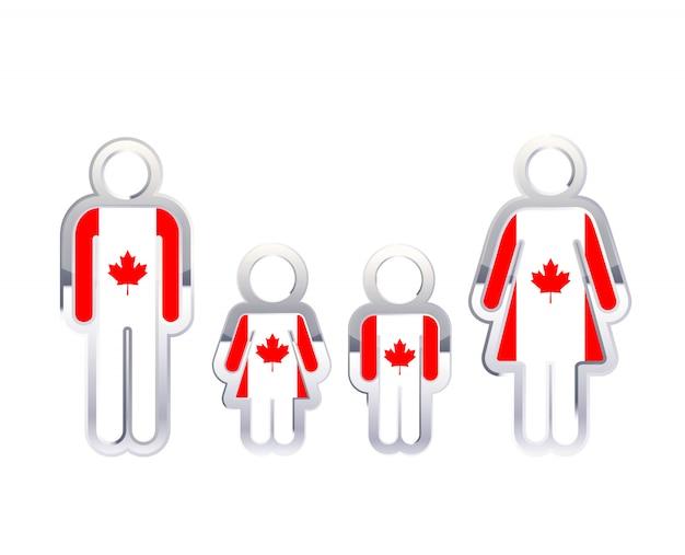 Icono de insignia de metal brillante en formas de hombre, mujer y niños con bandera de canadá, elemento de infografía en blanco