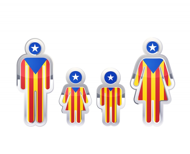 Icono de insignia de metal brillante en formas de hombre, mujer y niños con bandera de cataluña, elemento de infografía en blanco