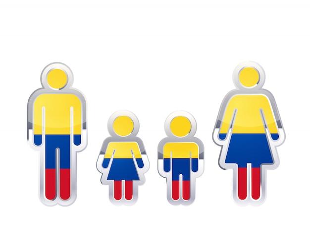 Icono de insignia de metal brillante en formas de hombre, mujer y niños con bandera de colombia, elemento de infografía en blanco