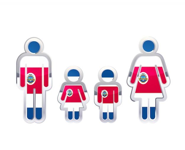 Icono de insignia de metal brillante en formas de hombre, mujer y niños con bandera de costa rica, elemento de infografía en blanco