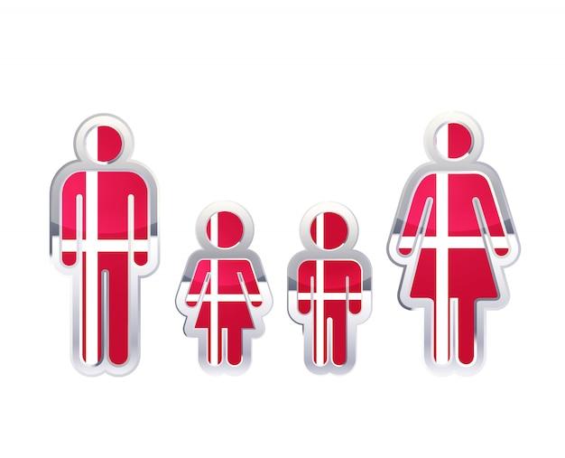 Icono de insignia de metal brillante en formas de hombre, mujer y niños con bandera de dinamarca, elemento de infografía en blanco