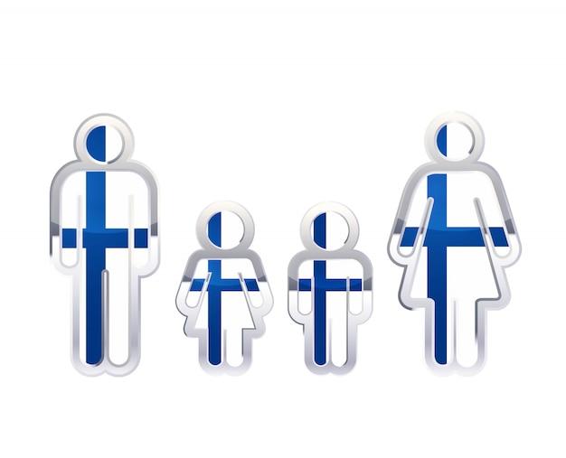 Icono de insignia de metal brillante en formas de hombre, mujer y niños con bandera de finlandia, elemento de infografía en blanco