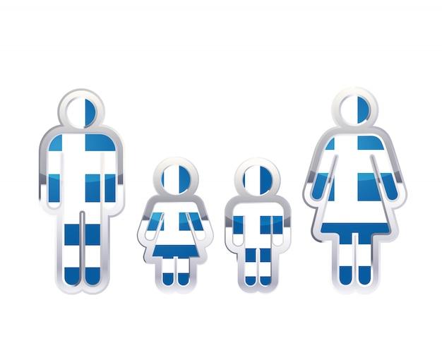 Icono de insignia de metal brillante en formas de hombre, mujer y niños con la bandera de grecia, elemento de infografía aislado en blanco