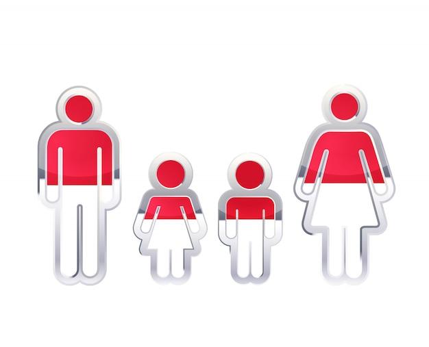 Icono de insignia de metal brillante en formas de hombre, mujer y niños con bandera de indonesia, elemento de infografía aislado en blanco