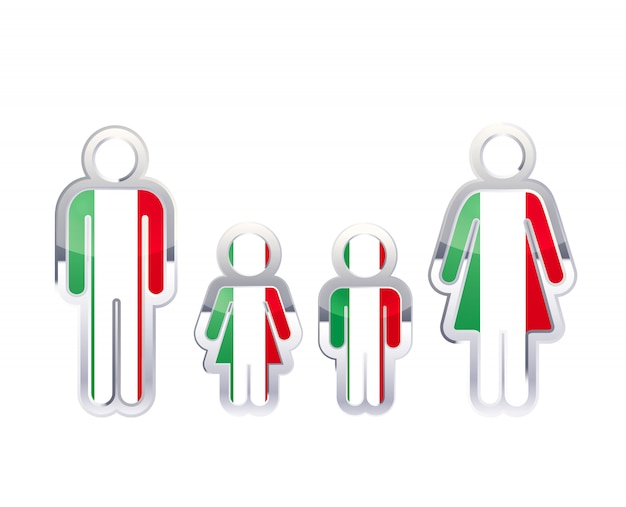 Icono de insignia de metal brillante en formas de hombre, mujer y niños con bandera de italia, elemento de infografía en blanco