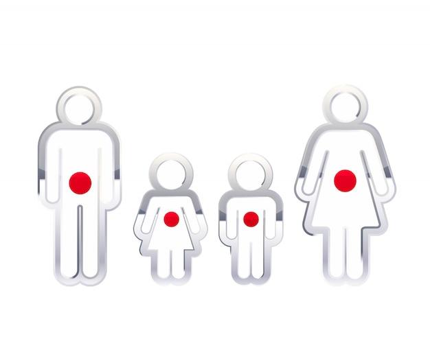 Icono de insignia de metal brillante en formas de hombre, mujer y niños con bandera de japón, elemento de infografía en blanco