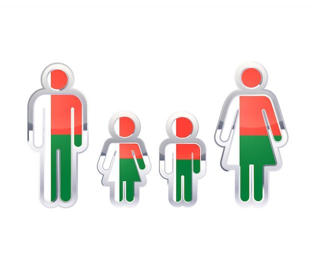 Icono de insignia de metal brillante en formas de hombre, mujer y niños con bandera de madagascar, elemento de infografía en blanco
