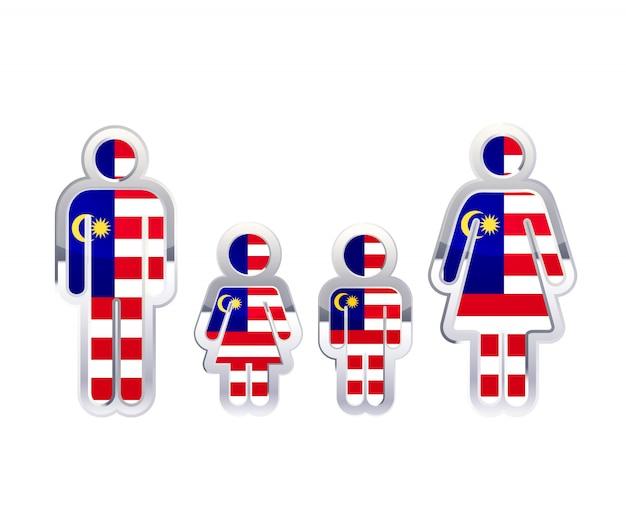 Icono de insignia de metal brillante en formas de hombre, mujer y niños con bandera de malasia, elemento de infografía en blanco