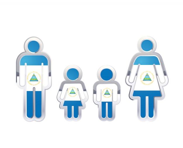 Icono de insignia de metal brillante en formas de hombre, mujer y niños con bandera de nicaragua, elemento de infografía en blanco
