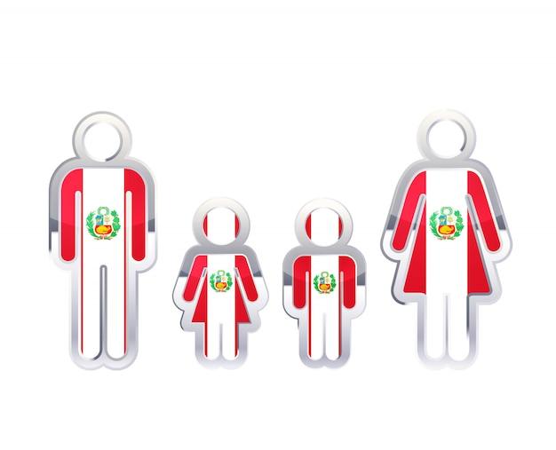 Icono de insignia de metal brillante en formas de hombre, mujer y niños con bandera de perú, elemento de infografía en blanco