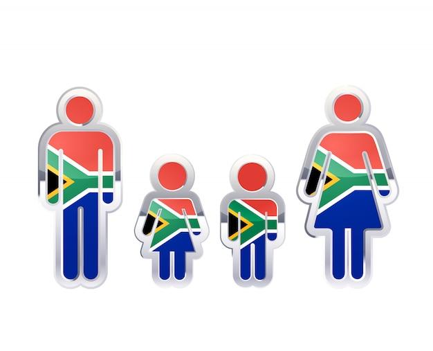 Icono de insignia de metal brillante en formas de hombre, mujer y niños con bandera de sudáfrica, elemento de infografía en blanco