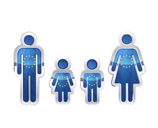 Icono de insignia de metal brillante en formas de hombre, mujer y niños con bandera de la unión europea, elemento de infografía en blanco