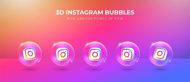 Icono de instagram de redes sociales 3d con varios puntos de vista