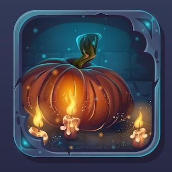 Icono de interfaz gráfica de usuario de batalla de monstruo - dibujos animados ilustración estilizada calabaza y velas.