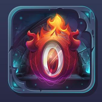 Icono de interfaz gráfica de usuario de batalla de monstruo - llama de eldiablo de ilustración estilizada de dibujos animados.