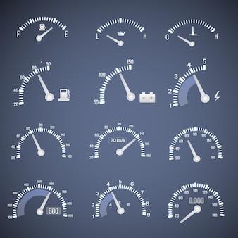Icono de interfaz de velocímetro blanco con diales que muestran el nivel de aceite combustible y la ilustración de vector de velocidad
