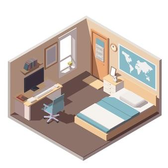 Icono interior de habitación de adolescente o estudiante con cama, escritorio, computadora y estantería