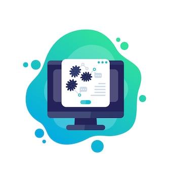Icono de investigación de virus con computadora