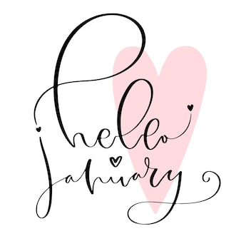 Icono de invierno escrito a mano. hola enero