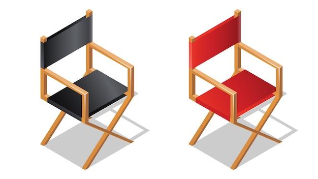 Icono isométrica de silla de director de cine con sombra