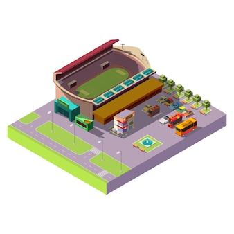 Icono isométrico 3d del estadio público de la ciudad