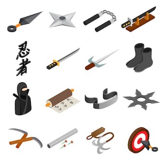 Icono isométrico 3d de ninja aislado sobre fondo blanco