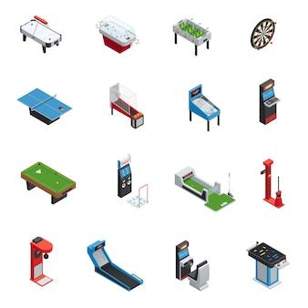 El icono isométrico aislado y aislado de la máquina de juego de los juegos de la tabla fijó para el casino y el ejemplo del vector del parque de atracciones
