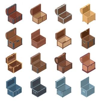 Icono isométrico aislado cofre abierto. ilustración cofre de madera sobre fondo blanco. icono isométrico conjunto cofre abierto.