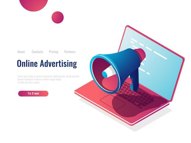 Icono isométrico de altavoz, publicidad y promoción en línea de internet, smm social media marketing