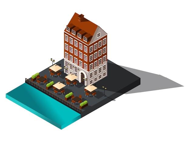 Icono isométrico, antigua casa junto al mar, hotel, restaurante, dinamarca, copenhague, parís, centro histórico de la ciudad, antiguo edificio para ilustraciones