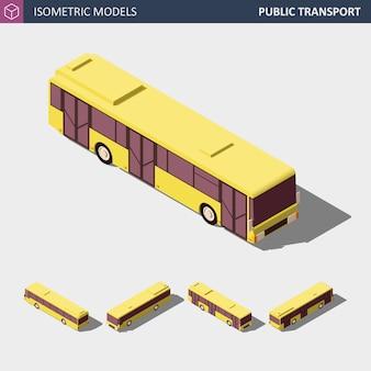 Icono isométrico del autobús público de la ciudad. ilustración.