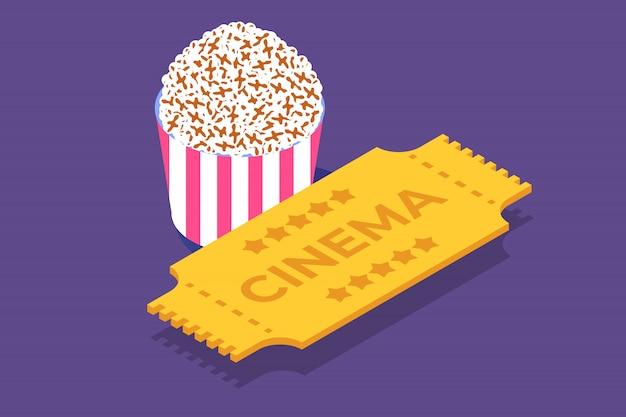 Icono isométrico de boleto de cine, plantilla. ilustración