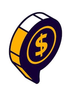 Icono isométrico de burbujas de discurso con símbolo de dólar, chat en línea, mensaje de pago