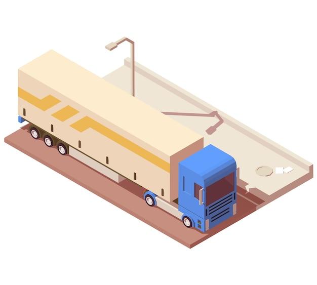 Icono isométrico de camión de reparto en la carretera