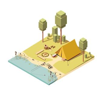 Icono isométrico de camping con carpa, hoguera y caña de pescar.